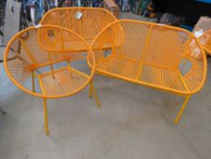 Garden three piece suites in burn orange strung rattan made up of 2 two seater sofas and 2 arm
