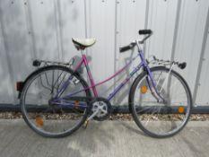 Ladies step through bike in purple