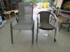 3 assorted garden chairs in grey and rattan