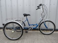 Mission tricycle in silver and blue with carry basket