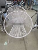 2 grey tub style chairs in strung rattan