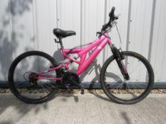 Sabre Mountain bike in pink full suspension