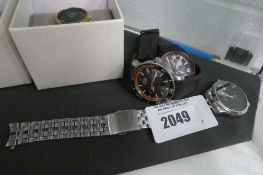 3 gents watches for spares and repairs incl. Seiko stainless steel strap watch, Citizen Eco Drive