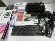 Bag containing Sky TV boxes, BT/Sky routers, HP keyboard, laptop stand, tablet cases, Yoga