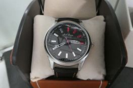 2060 LA Banus stainless steel bezelled wristwatch with black leather strap and box