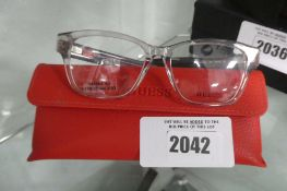 Pair of ladies Guess reading glasses frames, minor damage to right arm, GU2823, with case