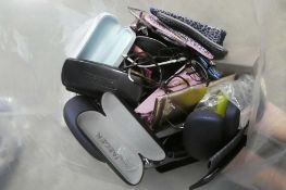 Bag containing broken and other sunglasses and reading glasses frames for spares and repairs