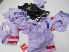 Bag containing mixed ladies Puma sport t-shirts in black and purple