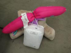 Armchair cushion, Big Joe pool pets toy and mattress and pillow protector