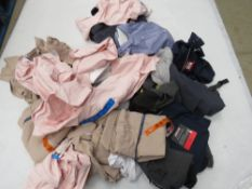 Large bag of mixed ladies and mens clothing incl. tops, jumpers, etc.