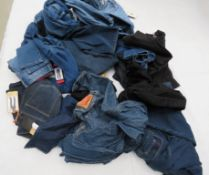 Large bag containing mixed style jeans incl. Kirkland, Levi, Urban Style, etc.