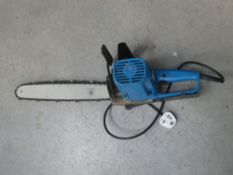 Small blue electric chainsaw