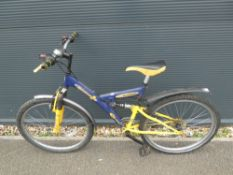 Emmelle outlaw blue and yellow suspension mountain bike