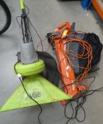 Flymo electric blow vac and a green garden vac
