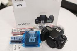 Canon EOS90D camera with accessories