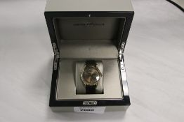 Emporio Armani gents wristwatch with black leather effect strap and gold effect bezel