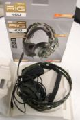 Pair of Rig 400 forest camo headphones