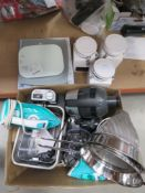Box containing kitchenware incl. fryers, irons, canisters, etc.