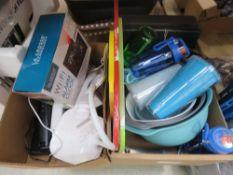 2 boxes of mixed items incl. Ottlite desk lamps, alarm clock, mixing bowls, bottles, etc.