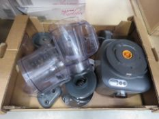 Tray containing Kenwood food processor with attachments
