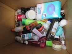 Box containing cosmetics, beauty items, etc.
