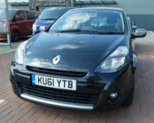 KU61 YTB Renault Clio Dynamique Tomtom 16v in black, first registered 26.09.2011, one key, 1149cc,