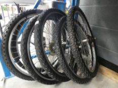 6 assorted bike wheels and tyres