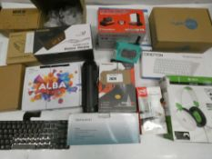 Bag containing gaming headphones and mouse, alarm clocks, keyboards, router, antenna etc