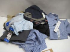 Bag containing gents clothing to include shirts, jeans, shorts, Kirkland polo shirts, etc