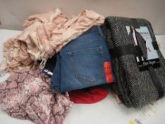 Bag containing ladies clothing to include loungewear, fashion wrap, tops, etc