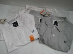 4 Crew Clothing polo shirts in light grey and white, various sizes mainly XXL