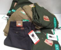Bag containing 22 pairs of gents shorts by Jachs of New York in olive green, khaki and blue (various
