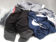 Bag containing gents clothing to include Nike t-shirts, Adidas tops, belt, Adidas shorts, etc