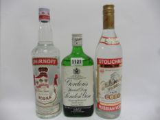 3 bottles, 1x Gordon's Special Dry London Gin old style 70cl 37.