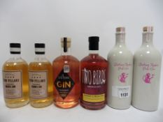 6 bottles, 2x Blushing Monkey Pink Gin 70cl 48%, 2x Four Pillars Chardonnay Barrel Gin 50cl 43.