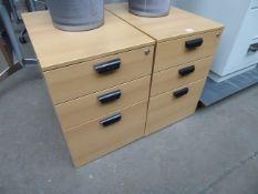 2 42cm light oak 3-drawer pedestals