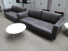 200cm Giuliomarelli Italia brown leather 3 seater reception style settee with 75cm diameter white