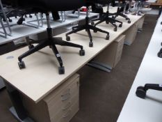 3 160cm maple effect workstations on cantilever legs each with a 4-drawer pedestal