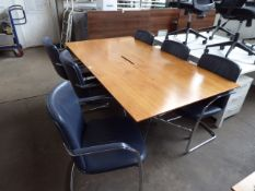 200cm x 110cm walnut effect meeting table on Charles Eames style chrome legs with set of 6 blue