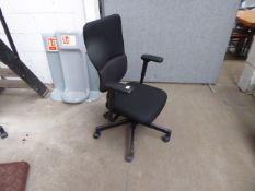 Steel case Lets B blakc cloth swivel armchair