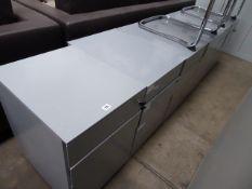 6 grey metal 3-drawer pedestals