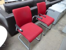 (44) Pair of red cloth cantilever chairs