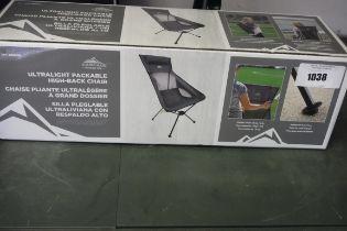 Cascade ultra light packable high back chair