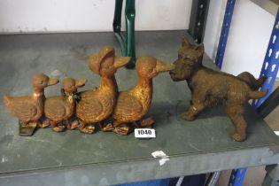 Wrought iron decorative Westie dog with wrought iron duck door stop