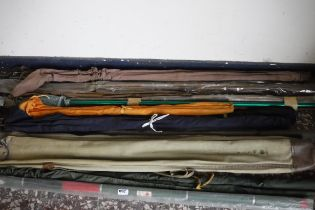 Large quantity of mixed branded fishing rods
