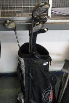 Callaway golf bag containing USA Tour golf clubs