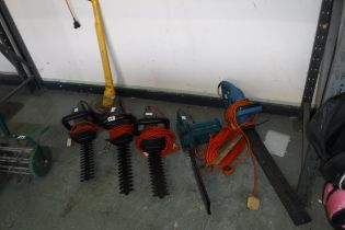 4 electric hedge trimmers with electric chainsaw and electric strimmer