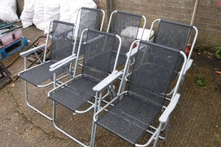 6 black mesh garden chairs