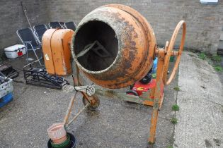 Large cement mixer on stand