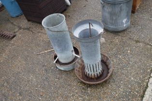 (2219) 2 galvanized poultry feeders